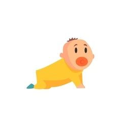 Toddler in yellow clothes crawling screamingpart vector