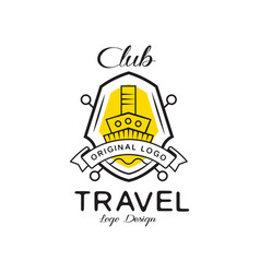 travel club logo design heraldic shield with ship vector image