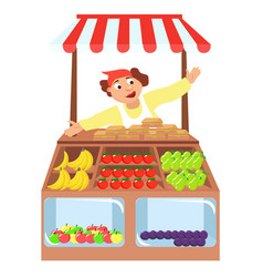 vegetables shop stall farmers market vector image