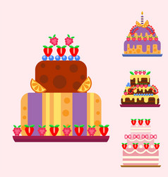 wedding cake pie hand drawn style sweets dessert vector image
