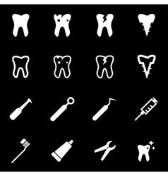 white dental icon set vector image