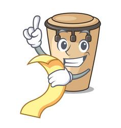 With menu conga mascot cartoon style vector