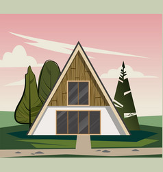 wooden triangular house with large windows vector image