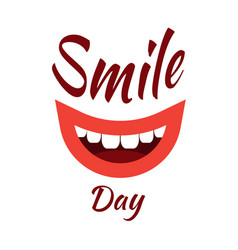 World smile day event name smiling mouth white vector