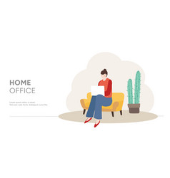 young woman sitting on sofa and working on laptop vector image