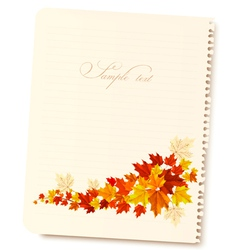 Autumn background with sheet of paper and colorful vector image vector image