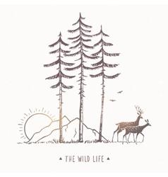 Deer Mountain Trees vector image vector image