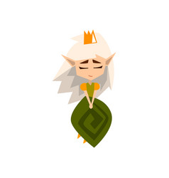 princess of the forest elves with white hair and vector image