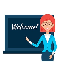 School Teacher with Welcome Word over Chalkboard vector image vector image