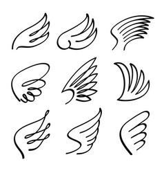 cartoon angel wings set sketch doodle vector image vector image