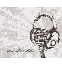 concert wallpaper with microphone and headphones vector image vector image