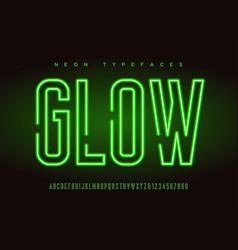 glowing linear neon typefaces alphabet vector image