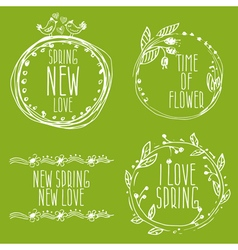 Hand Drawn spring labels with flowersbranches and vector image vector image