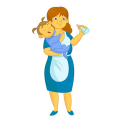 old nanny with kid vector image vector image