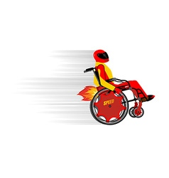 Disabled person in wheelchair wit turbo engine vector image