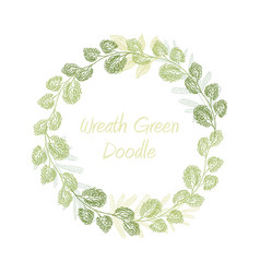 greenery doodle leaf wreath vector image vector image