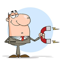 Happy Businessman Using A Magnet vector image