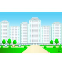 landscape with skyscrapers and street vector image