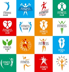 large set of logos for fitness clubs vector image