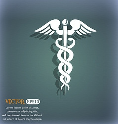 medicine icon On the blue-green abstract vector image vector image