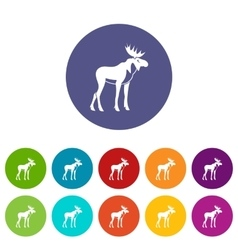 Moose set icons vector image vector image