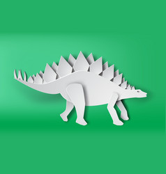 paper art of stegosaurus dinosour on green vector image vector image