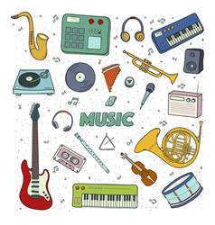set of a musical instruments colorful vector image