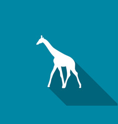 giraffe flat icon with long shadow vector image