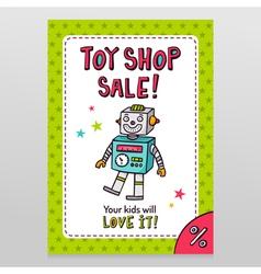 Toy shop sale flyer design with happy vintage toy vector image vector image