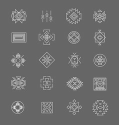 tribal american indian linear symbols line hand vector image vector image