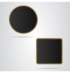 Two leather vip tag round and square with gold vector