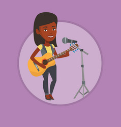 woman singing in microphone and playing guitar vector image