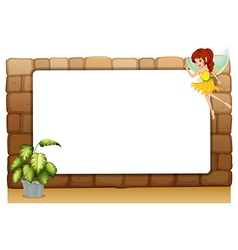 A blank board on a wall with a fairy and a pot of vector image