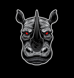 angry rhino head design element for logo label vector image