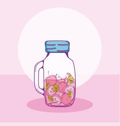 apple fruits mason jar vector image