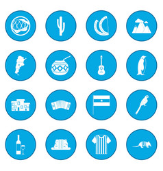 argentina set icon blue vector image