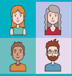 Avatars people man and woman portrait set vector