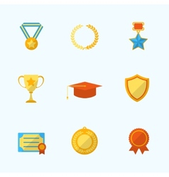 Award Icons Flat Set vector image