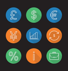 banking and finance flat linear long shadow icons vector image