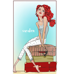 beautiful girl with suitcases vector image