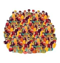 Big group young happy casual people faces isolate vector image