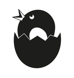 Black and white chick coming out eggshell vector