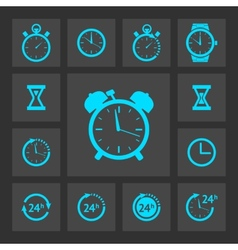 Blue clock icons set vector image