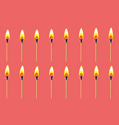 burning match animation sprite on red background vector image