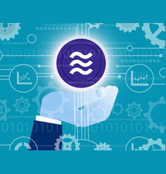 business hand holding libra coin financial vector image
