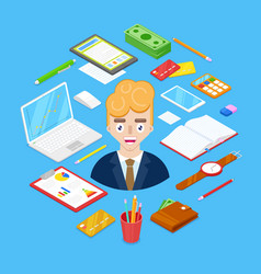 businessman and office stationary vector image