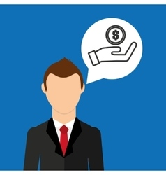 Businessman character hand hold money coin vector