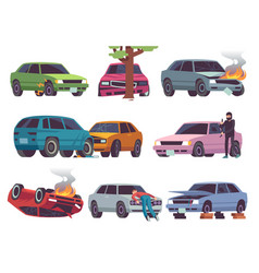 car accident on road different vehicle accidents vector image