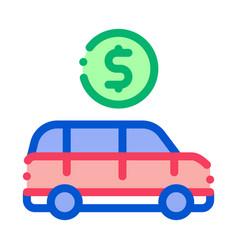 car dollar coin icon outline vector image
