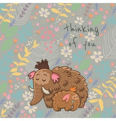 Cartoon floral card with mammoth vector image